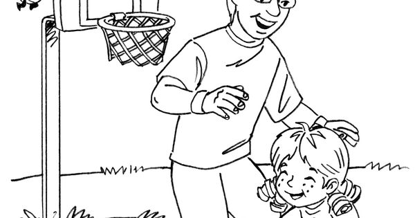 Our story character Angela and her dad play basketball