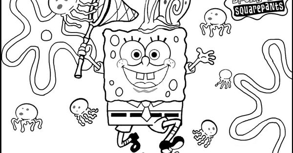 Spongebob Jellyfish Hunting Together Gary coloring picture
