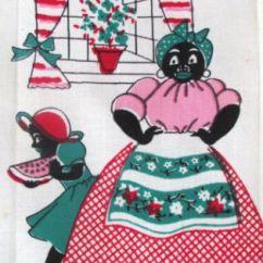 Aunt Jemima Kitchen Curtains Wooden Utensils Vintage Towel Black Americana Mammy Watermelon Slice ...