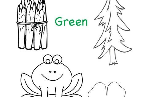 Things that are Green Coloring Page from TwistyNoodle.com