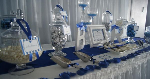 white and navy candy buffet  Bing Images  Nautical Wedding  Pinterest  Wedding Flowers and
