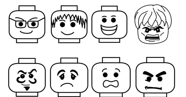 A collection of lego faces all in various formats