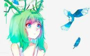 anime girl reindeer antlers green