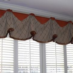 Kitchen Bay Window Treatments Grohe Concetto Faucet #windowtreatments Our Rio Valance With Long Jabots Over # ...