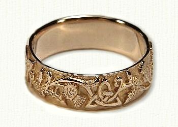 Celtic Thistle Knot with Straight Edges Wedding Band