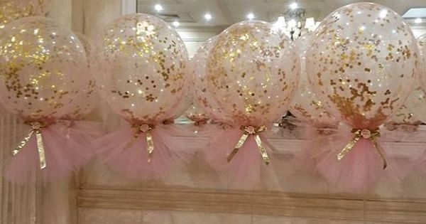 Pink and gold theme christening with our signature confetti and tulle balloons