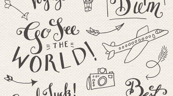 CLIP ART: Travel Photoshop Overlays // Editable Vector eps