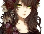 anime girl with brown curly hair