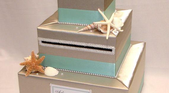Elegant Custom Made Wedding Card Box BEACH Theme Fabric Covered Wedding And Money Holders