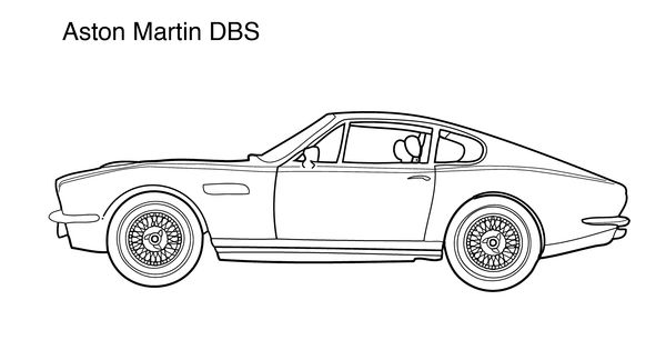Cars coloring pages for kids Super car Aston martin DBS
