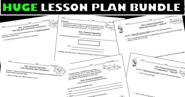 Lesson Plan Bundle: The Mole, % Composition, Empirical and