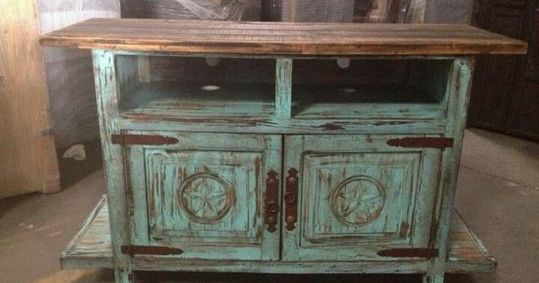TV STAND TURQUOISE DISTRESSED WOOD  Furniture Pieces I Like  Pinterest  Distressed wood