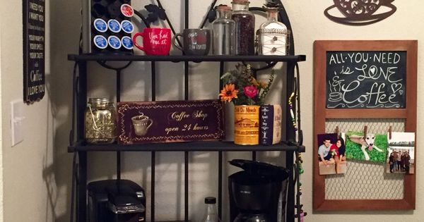 Coffee bar in a small apartment with decor from hobby