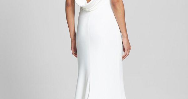 Draped Neck Silk Crepe Wedding Dress