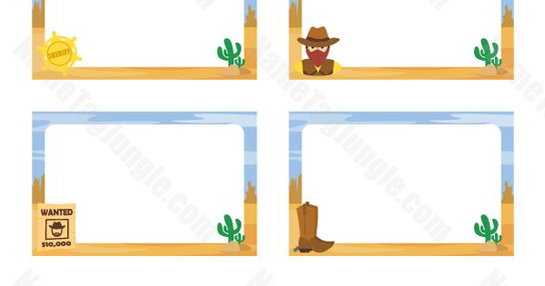 Free Printable Western Name Tags The Template Can Also Be Used For Creating Items Like Labels