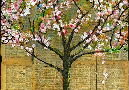 Ein rustikaler Baum platzen mit weien und rosa Blten ist verstecken zwei kleine blaue Vgel