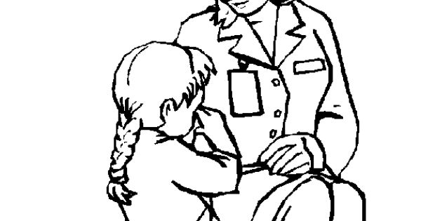 Doctor and child Doctors & Hospital coloring page, family