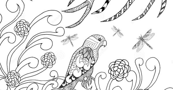 tropical-parrot-flower-garden-bird-coloring-page-animals