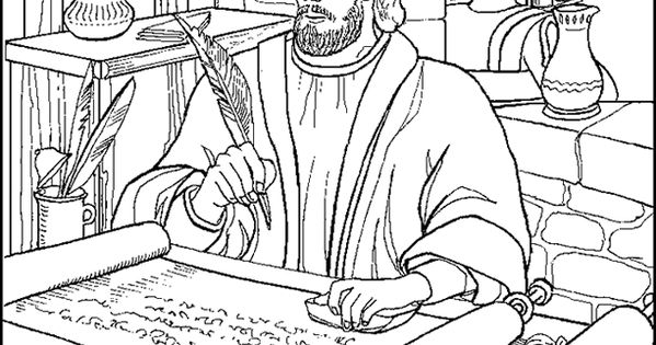 Paul Writing a Letter from Prison Coloring Page