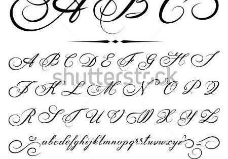 vector hand drawn calligraphic Alphabet based on