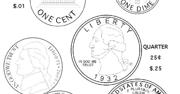 Dibujos De Monedas De Dolar Para Colorear E Imprimir