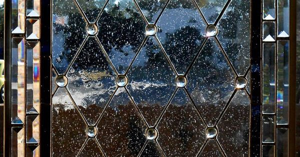 Diamond Grid Stained Glass Window Panel or Cabinet Door