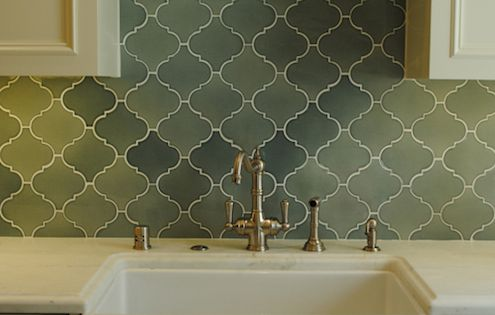 changing countertops in kitchen sink clog cream cabinets, brass hardware, green arabesque tile ...