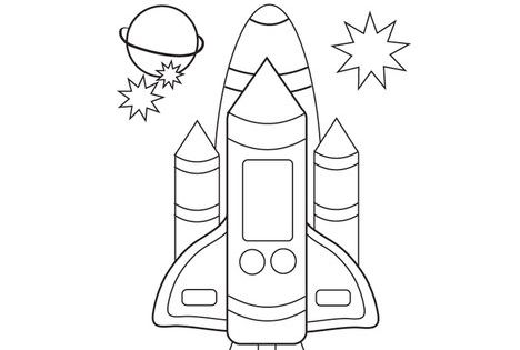 Space Shuttle Coloring Page Solar