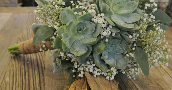 Bridal bouquet with succulents hydrangea babys breath seeded eucalyptus  ForgetMeNot