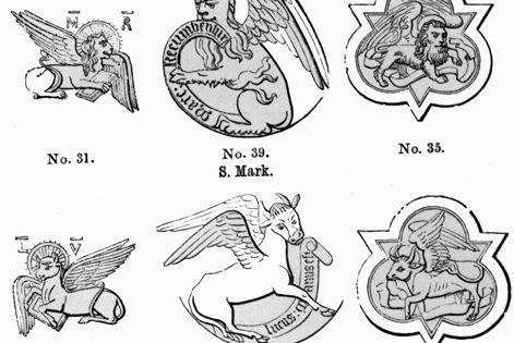 Gospel symbols: Matthew = man Mark = lion Luke = bull John
