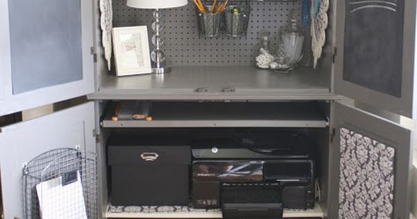 No Office? No Problem Repurpose A Media Cabinet Or