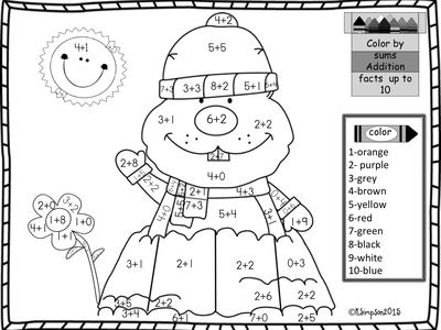 Groundhog Day Addition Sums to 10 Coloring Page from Joy