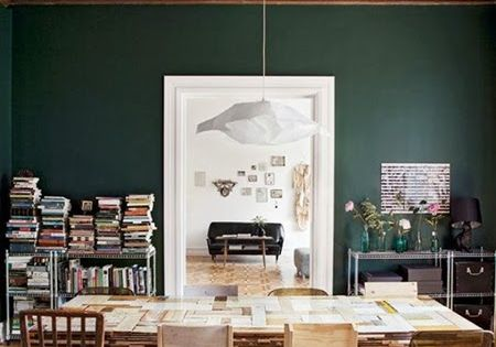 dark hunter green dining room library wall paint color