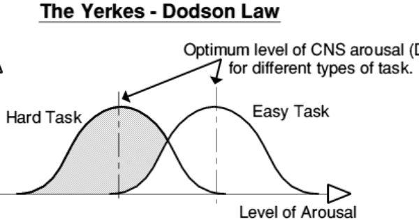 Yerkes-Dodson Law: some arousal best for performance. Too