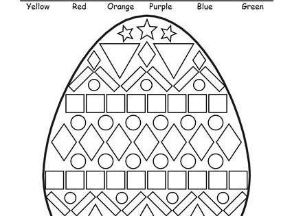 FREE Easter Egg Shapes Worksheet & Coloring Page