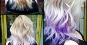 medium length blonde with lilac
