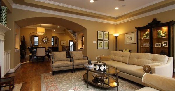 hgtv design ideas living room with brown leather sofa benjamin moore rattan | elements and technology. wall ...