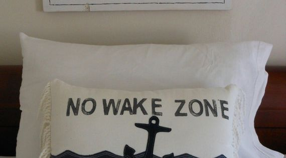 No Wake Zone Sweet Dreams Pillow Nautical Anchor Navy and White Beach Cottage Nautical