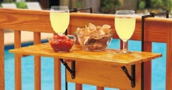 Natural Wooden Folding Table Deck Porch Attach Railings Clamps Patio Furniture  Bar  Pinterest