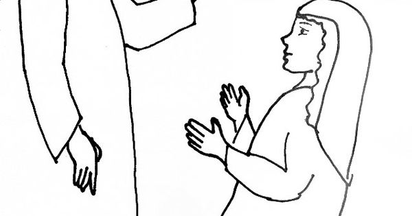 Bible Story Coloring Page for Angel Gabriel Visits Mary