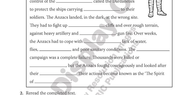 The Anzacs. Cloze text fill in the blanks. Teacher