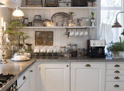 Kitchen White Grey Black Chippy Shabby Chic