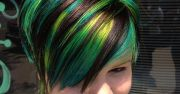 cool green streaked dyed short