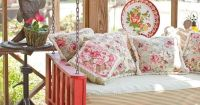 Unique shabby chic porch swing, suspended day bed.