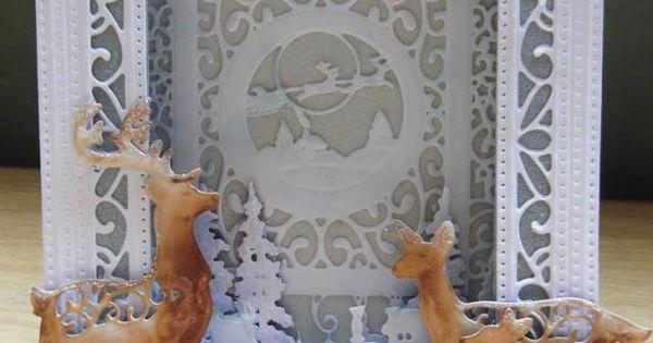 Sue Wilson Ornate Pierced Boxed Frame Reindeer Card