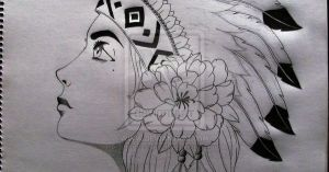 native american drawings warrior easy drawing princess tattoo americans