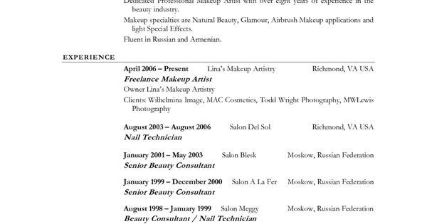 example resume and portfolio cosmetology