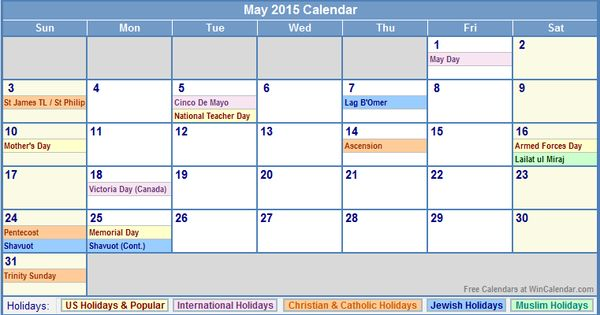 May 2015 Calendar With US, Christian