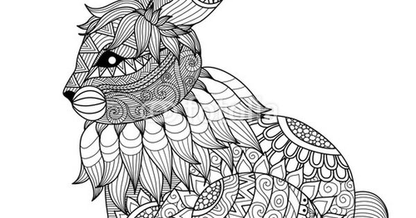 Vector: Drawing zentangle rabbit for coloring page, shirt