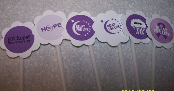 RELAY FOR LIFE Cupcake Toppers sticks picks purple cancer